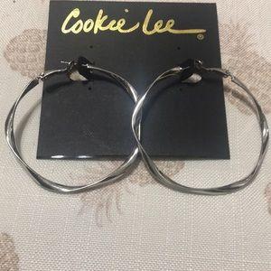 Large silver color hoop earings